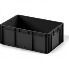 Пластиковый ящик 600x400x220 EC-6422 ESD черный с гладким дном