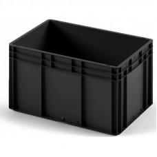 Пластиковый ящик 600x400x320 ЕС-6432 ESD черный с усиленным дном