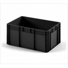 Пластиковый ящик 800х600х320 черный с усиленным дном